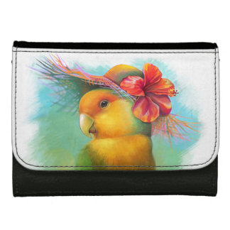 Orange-faced lovebird with hibiscus hat painting wallet