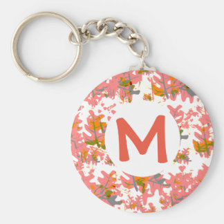 Orange Fall Colored Leaves Pattern Add Your Name Keychain