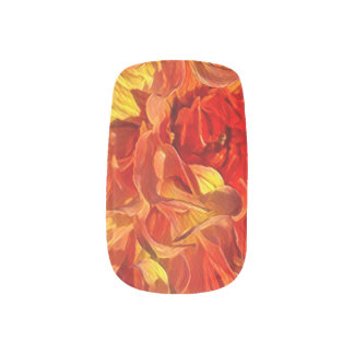 Orange Fancy Dahlia Minx Nail Art