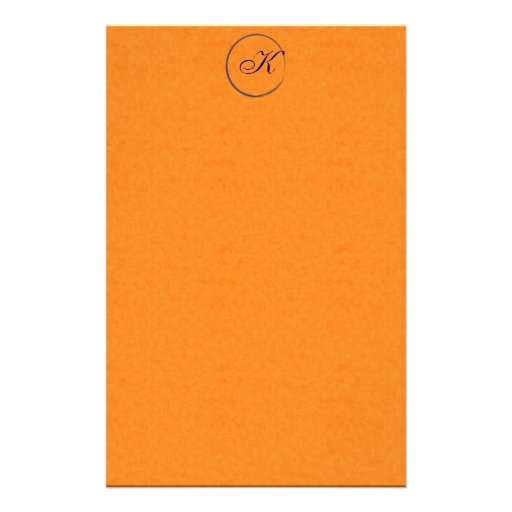 Orange Felt Ring Monogram Stationery