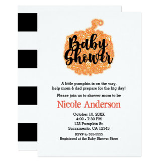 Orange Filigree Pumpkin Elegant Fall Baby Shower Card