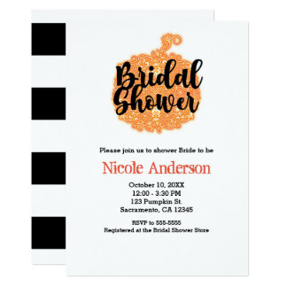 Orange Filigree Pumpkin Elegant Fall Bridal Shower Card