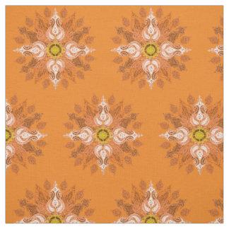 Orange fire paisley oriental pattern fabric