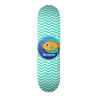 Orange Fish; Aqua Green Chevron Skate Deck