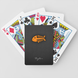 Orange Fish Bones Bicycle Playing Cards