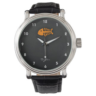 Orange Fish Bones Watch