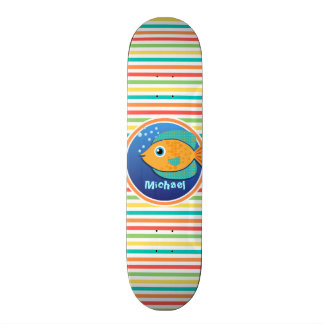 Orange Fish; Bright Rainbow Stripes Skate Deck