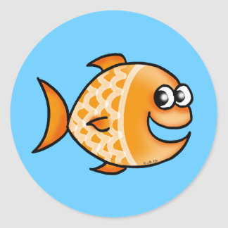Orange fish classic round sticker