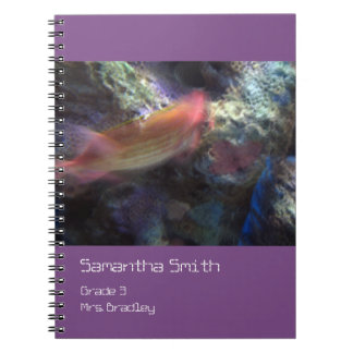 Orange Fish Notebook, Purple, Customizable Notebook