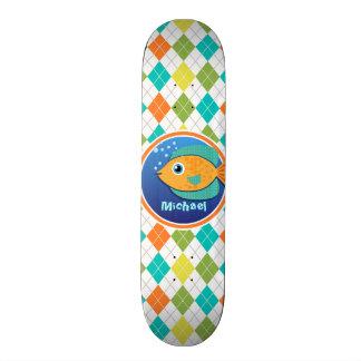 Orange Fish on Colorful Argyle Pattern Skate Board Decks