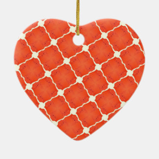 Orange Fishing Net Mosaic Tile Grid Pattern Gifts Ceramic Heart Ornament