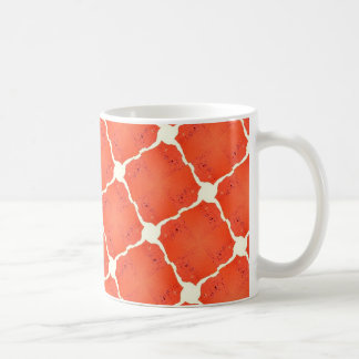 Orange Fishing Net Mosaic Tile Grid Pattern Gifts Classic White Coffee Mug