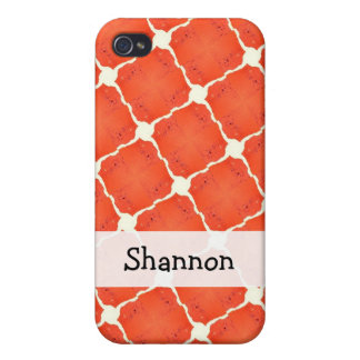 Orange Fishing Net Mosaic Tile Grid Pattern Gifts iPhone 4 Cover