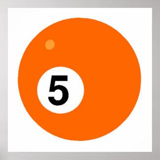 Orange Five Billiards Ball Poster
