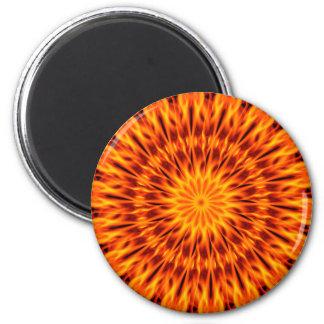 Orange Flames Kaleidoscope Magnet