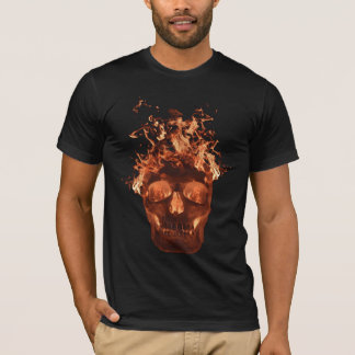 Orange Flaming Skull T-Shirt