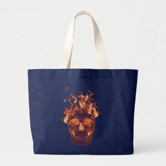 Orange Flaming Skull Tote Bag
