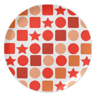 Orange-flavored Geometrics on Melamine Plate