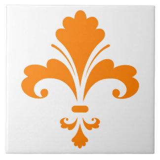 Orange Fleur de lis Tile