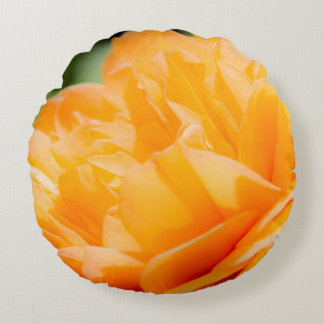 Orange Flora Round Pillow