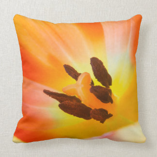 Orange Flora Throw Pillow