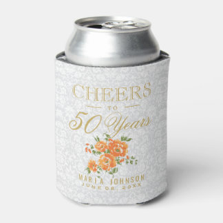 Orange Floral - Cheers to (Any Age) Years Can Cooler