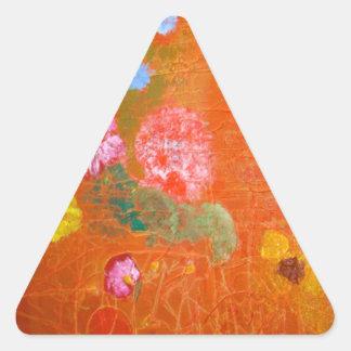 Orange Floral Design. Triangle Sticker