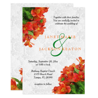 Orange Floral Garden Wedding Invitation