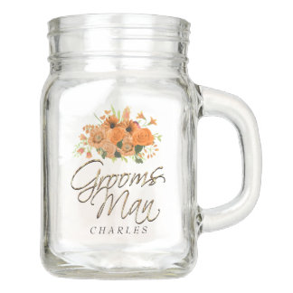 Orange Floral - Groomsman Mason Jar
