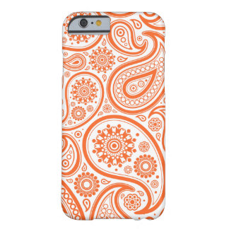 Orange Floral Paisley Monogram Pattern Barely There iPhone 6 Case