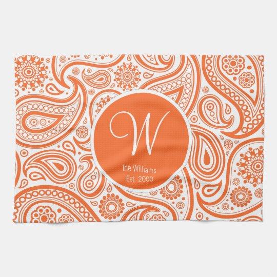 Orange Floral Paisley Monogram Pattern Kitchen Towel