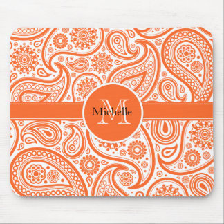 Orange Floral Paisley Monogram Pattern Mouse Pad