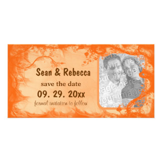 Orange Floral Photo Save The Date Announcement Card