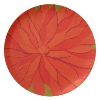 orange floral plate