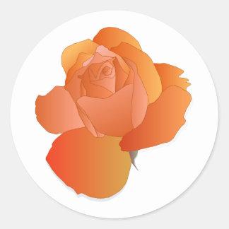 Orange Floral Rose Classic Round Sticker