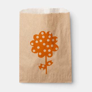 Orange Floral rustic Favour Bag