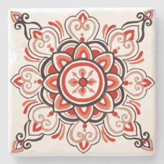 Orange floral tile design coaster