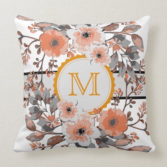 Orange Floral Vintage Monogram Throw Pillow