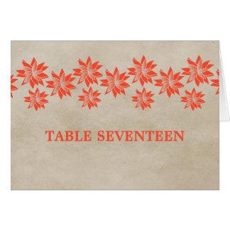 Orange Floral Vintage Table Number Card