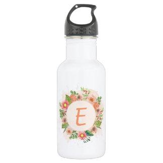 Orange floral watercolor wreath 532 ml water bottle