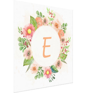 Orange floral watercolor wreath canvas print