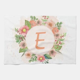 Orange floral watercolor wreath kitchen towel
