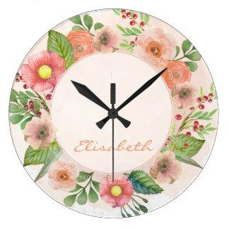 Orange floral watercolor wreath large clock