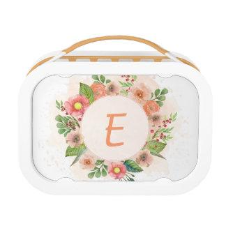 Orange floral watercolor wreath lunch box