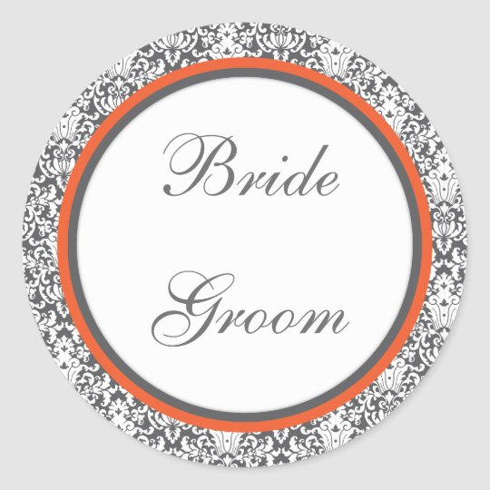 Orange floral  Wedding Sticker