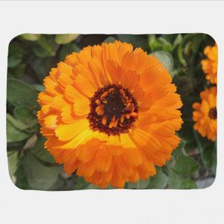 Orange Flower Baby Blanket