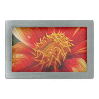 Orange Flower, DeepDream style Belt Buckles