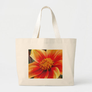 Orange Flower, DeepDream style Large Tote Bag