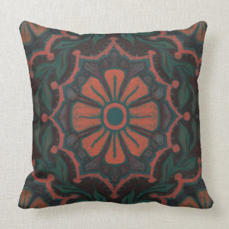 Orange flower, floral pattern, folkloric, bohemian throw pillow