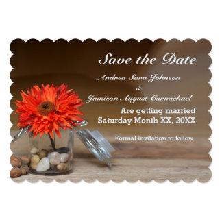 "Orange Flower in Mason Jar Save the Date 5"" X 7"" Invitation Card"